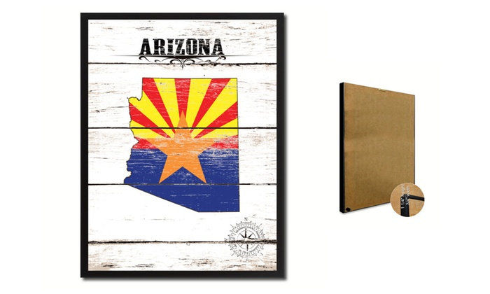 "SpotColorArt: Arizona State Map Accent Shabby Chic Flag 7""x9"" Framed Canvas Print"