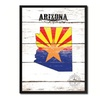 """Arizona State Map Accent Shabby Chic Flag 7""""x9"""" Framed Canvas Print"""