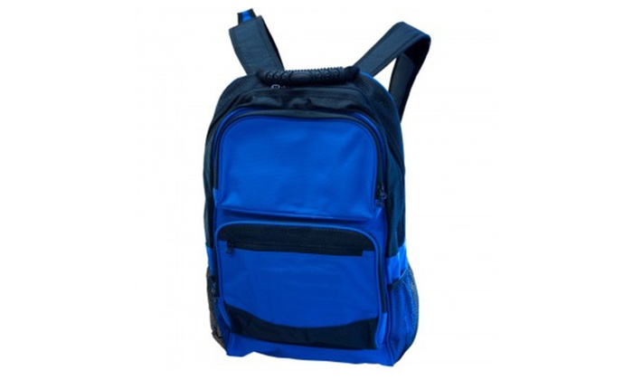 Large Royal Blue & Black Backpack with Pockets -Back To School