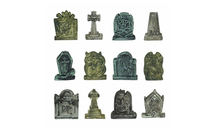 set of 12 miniature tombstones for halloween decorations