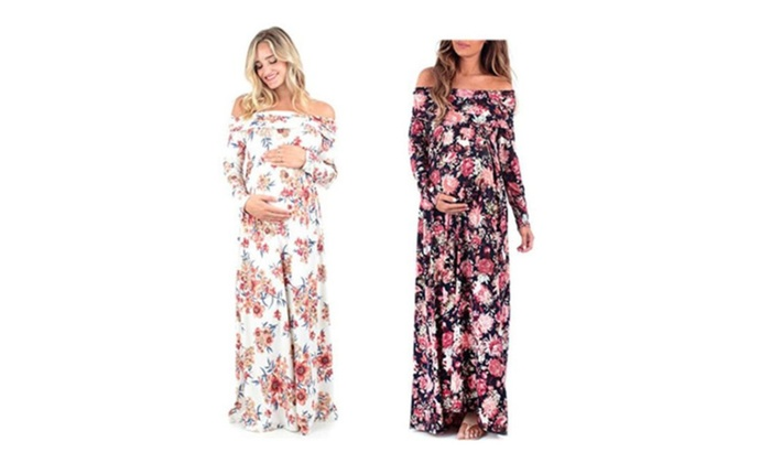 a0026ef28203a Womens Cowl Neck and Over The Shoulder Maternity Dress   Groupon