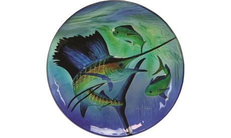 Rivers Edge Guy Harvey 12in Sailfish Glass Platter 64edf554-6dcb-45fc-864e-4fdb7662c603