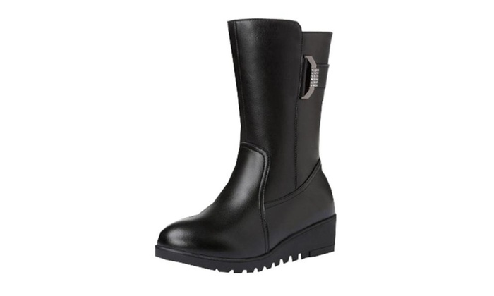 Women's Casual Zip Leather Snow Boots