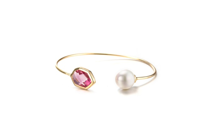 gold plated hectagon lavender gem pearl open ended pearl groupon