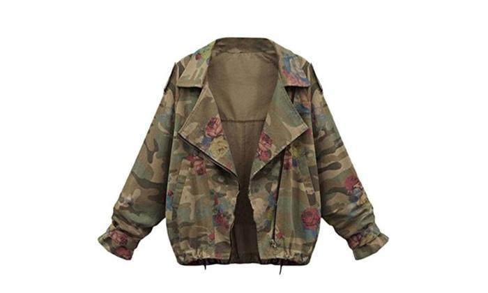 Winwinus Women's Camouflage Color Full-Zip Jacket