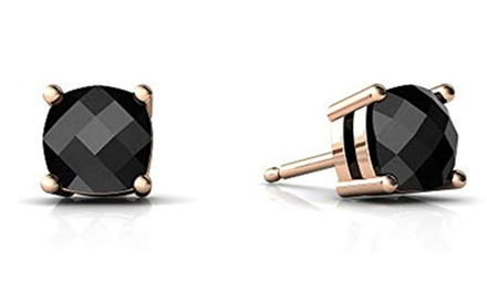 groupon.com - 14k Rose Gold Black Onyx 5mm Cushion Checkerboard Stud Earrings