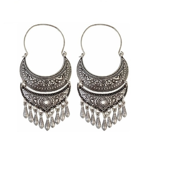 Indian Antique Silver Amazing Moon Shape Earring