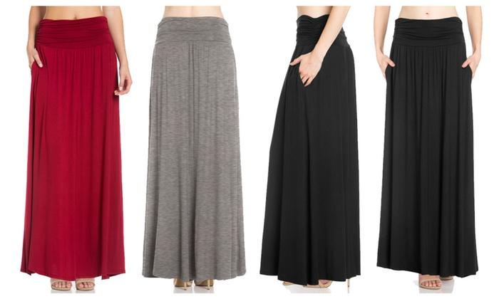 FACA Womens High Waist Shirring Maxi Skirt with Side Pockets