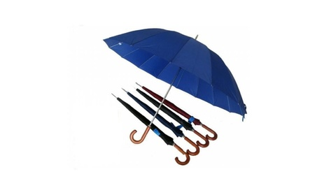 Conch 1220C 60 in. Arc 16 Ribs Jumbo Umbrella with Curve Wooden Handle 74694c29-41ae-48e7-8575-6c67ad7f550e