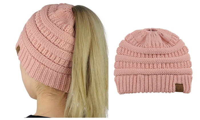 f3aa2d051 BeanieTail Soft Stretch Cable Knit High Bun Ponytail Beanie | Groupon