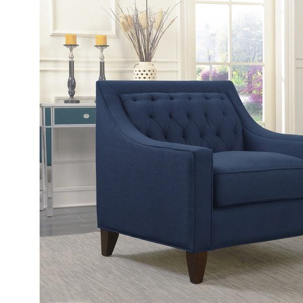 Chic Home Aurora Linen Tufted Backrest Modern Contemporary Club Chair