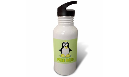 Straw Water Bottle Free Hugs. Cute Penguin. Kids room d?cor.
