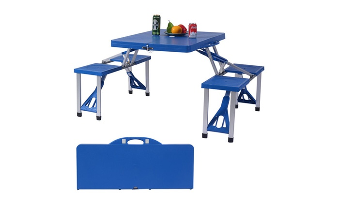 Bon Outdoor Foldable Portable Camping Plastic Picnic Table With Bench ...