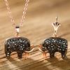 Rose Gold Crystal Elephants Jewelry Set