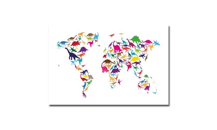 Michael tompsett dinosaur world map canvas art groupon michael tompsett dinosaur world map canvas art gumiabroncs Images