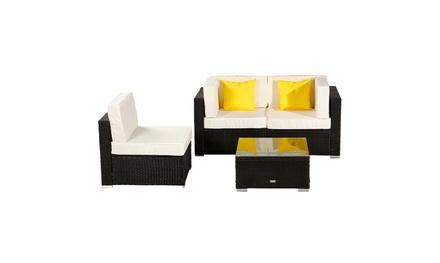 4-Piece Patio Furniture Rattan Sectional Sofa Conversation Set Black Wicker