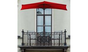 Pure Garden 9' Half Round Patio Umbrella - Red Patios Balconys Doorways