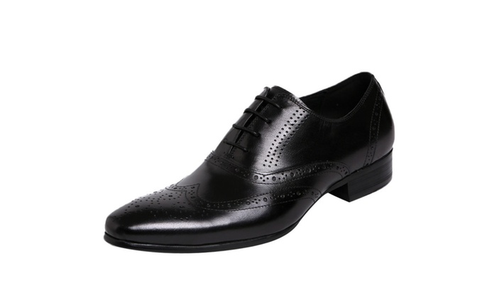 Men's Leather Wingtip Pointed Toe Oxford