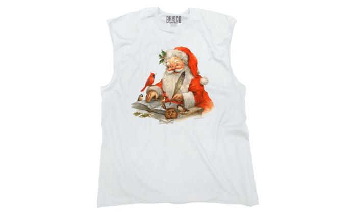 happy santa writing letter with birds sleeveless t shirt groupon