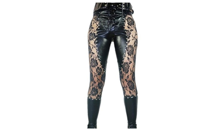 C.X Trendy Sexy Women's Punk Rock Faux Leather Leggings with Lace
