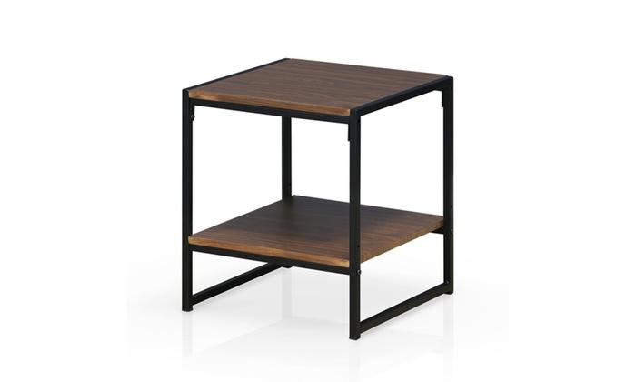 Furinno Modern 2 Tier End Table, Dark Walnut