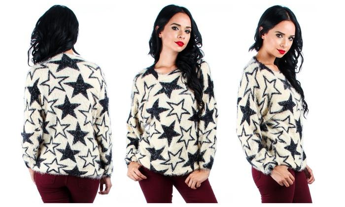 Women's Fuzzy Star Printed Sweater