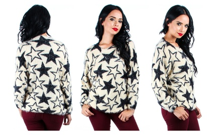 Women's Fuzzy Star Printed Sweater