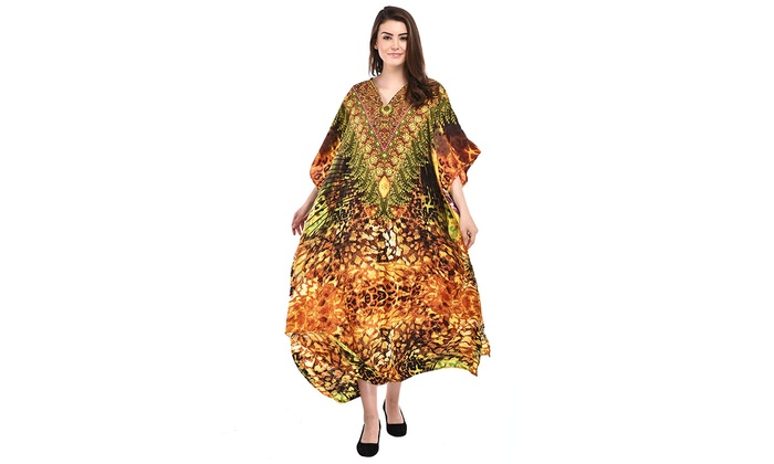 Women Yellow Leopard Print Plus Size Lightweight Polyester Kaftan Maxi  Dresses