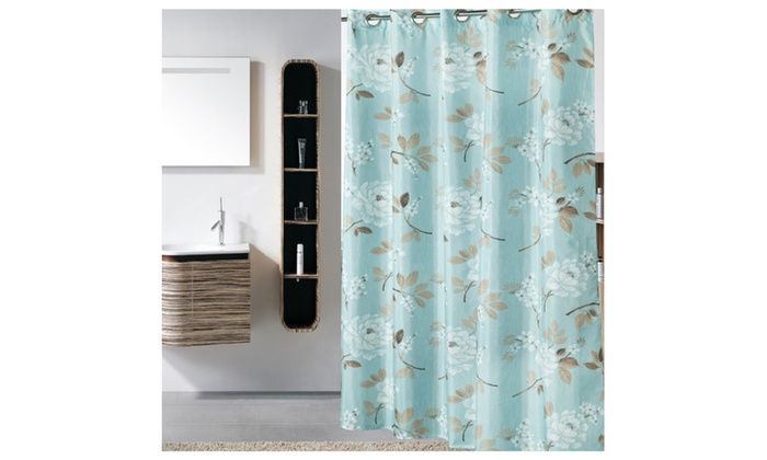 Riho 72x78 Inch Polyester Hookless Waterproof Green Shower Curtain ...