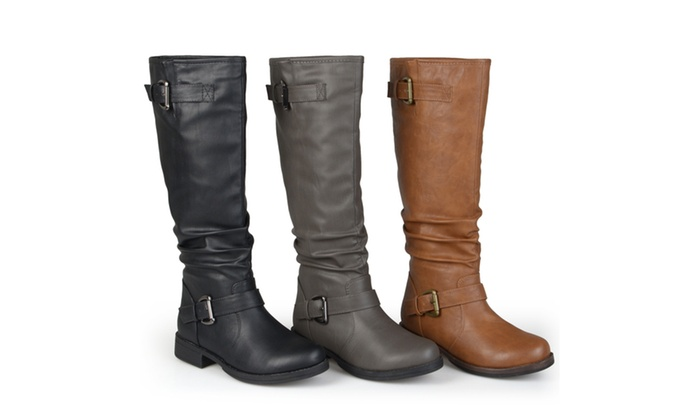 Journee Collection Womens Wide-Calf Knee-High Buckle Riding Boots