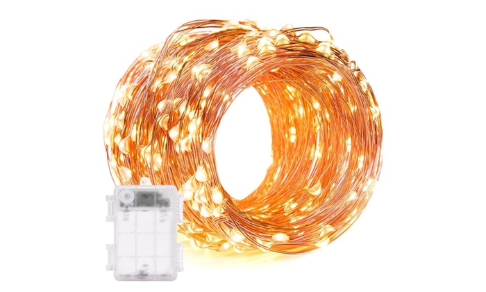 Warm White Copper Wire String Lights with Timer and 3AA Battery Case