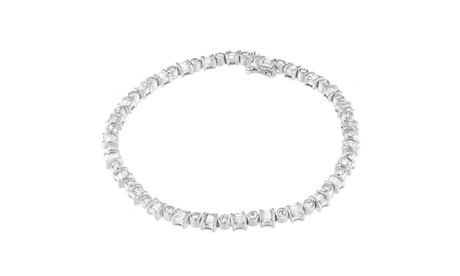 14K White Gold 2ct TDW Round and Baguette Cut Diamond Bracelet (H-I,I1-I2) e951d648-0d64-4f0d-9f66-3739498b4f27