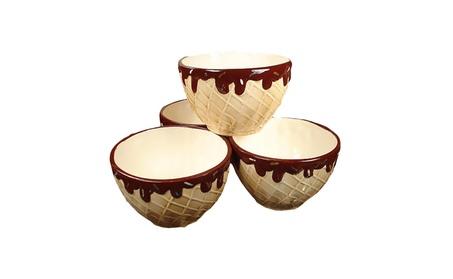D'Lusso Designs 4pc Waffle Cone Design Ceramic Ice Cream Bowls 1e7576b0-ad34-4585-bc15-ca270def4908