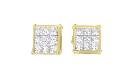 14K Yellow Gold 1/2ct TDW Princess-cut Diamond Earrings (H-I,VS1-VS2) 3a1fb493-5c2e-4cfd-beb5-1914a86de5ab