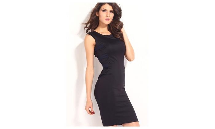 Women's Pretty Knee Length Design Cup Sleeve Sheath Dress - JPWD046