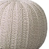 """LR Home Solid Hand Knitted Double Knotted Cable Pouf 1'8"""" x 1' 4"""""""