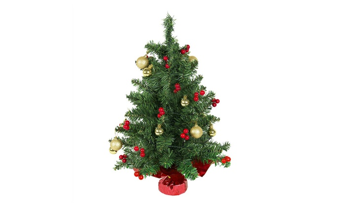 tabletop christmas tree battery operated with red berries and ornament