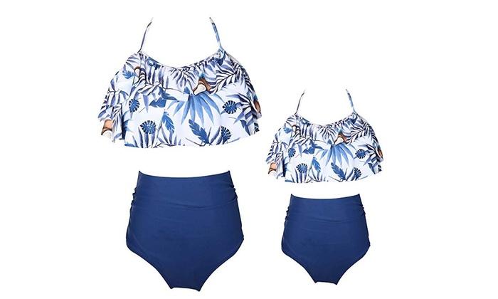 fa8f7ba5f5eee Girls Swimsuit Two Pieces Bikini Set Ruffle Falbala Swimwear Bathing Suits