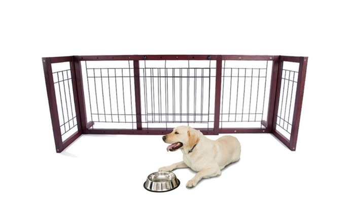 Folding Adjustable Standing Wood Pet Safety Fence Baby Gate ...