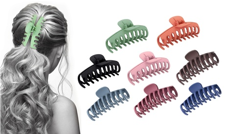 8 Pack: Women's Acrylic Large Claw Matt Hair Clips For Hair Styling and Grip