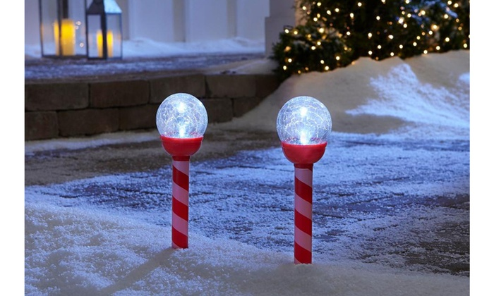 Holiday Christmas Garden Decor Crackle Ball Solar Light Led Solar Pathway Lights Groupon