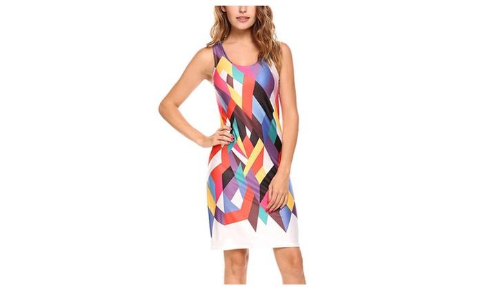 Needoon: Women's Sleeveless Multicolor Geometric Print Short Tank Dress