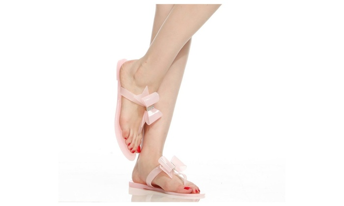 Pink Embellished Bow Accent Flat Flip Flop Thong Jelly Sandals