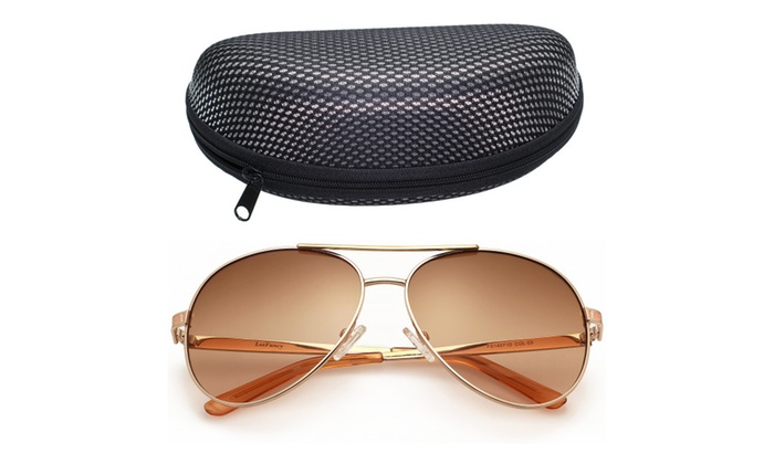 LotFancy Women's Aviator 61mm Sunglasses With Case,100% UV400