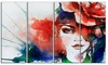 Woman with Rose Illustration - Abstract Metal Wall Art