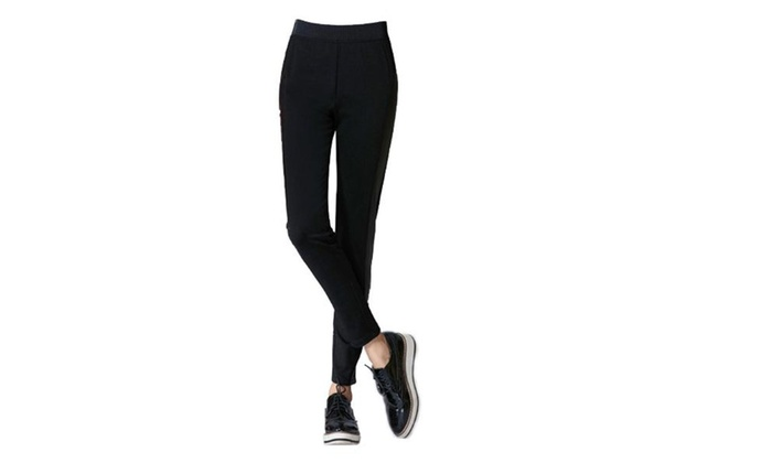 Women's Long Simple Mid Rise Regular Fit Solid Pants