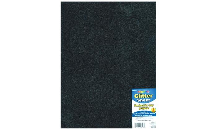 Darice Foamies Glitter Foam Sheet Black 2mm thick 9 X 12 Inches