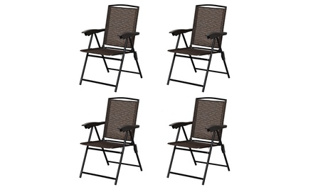 Costway Set of 4 Folding Sling Chairs-Patio Chair,Garden w/Adjustable Back