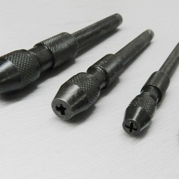 4 Pc Pin Vise Set Hand Held Hollow Handle Black Finish 4 Piece Vice Chuck Sizes