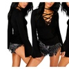 Women Sexy Deep V Neck Lace Up Wide Cuff Long Sleeve Slim T-shirt Tops